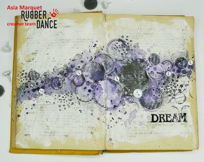 * Rubber Dance Blog *:Art Journal Page with Circle Stamps