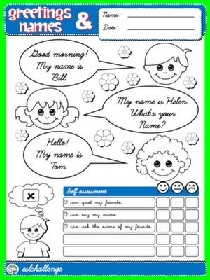 #GREETINGS AND NAMES - COVER + SELF ASSESSMENT FOR BOYS