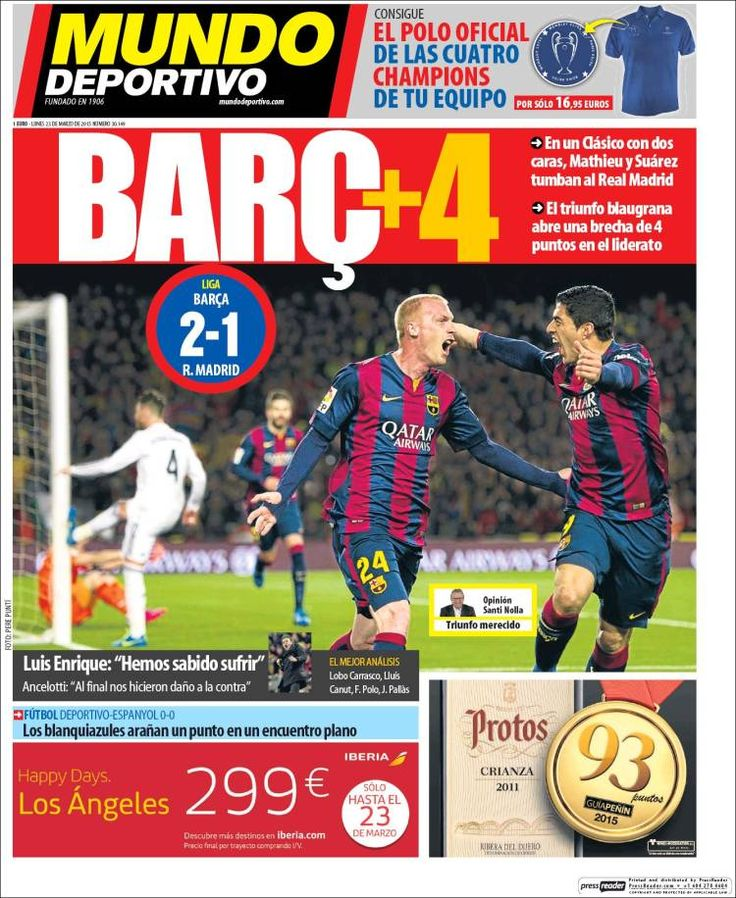 Portada Mundo Deportivo 23/03/2015