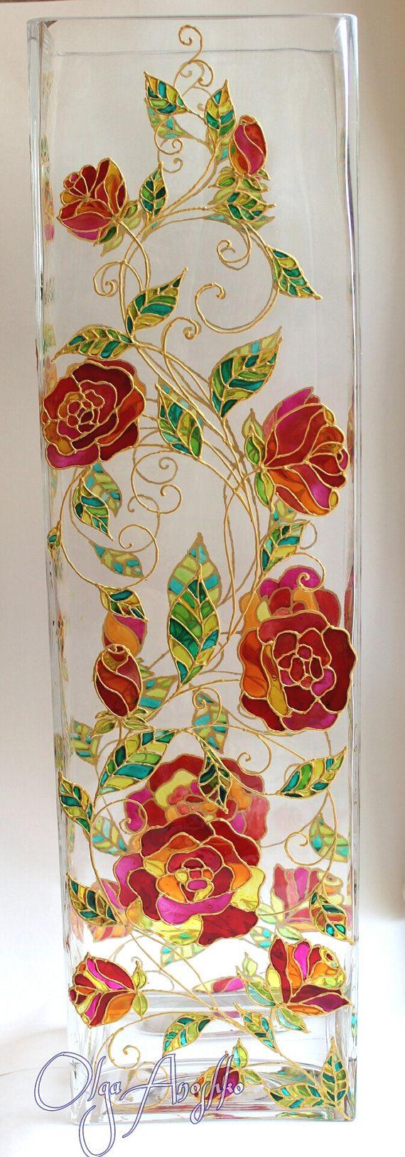 Red Flowers Vase Stained Glass Modern Vase от RomanticArtGlass