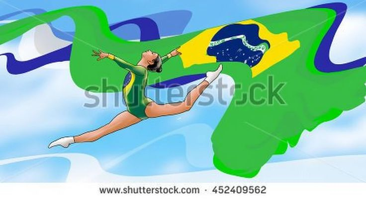 Rio. 2016 young gymnast woman in green sportswear dress with Brazilian flag, doing art gymnastics element split jumps in the air. Blue sky. Abstract Illustration. Summer Brazil Games. Athletics Games.