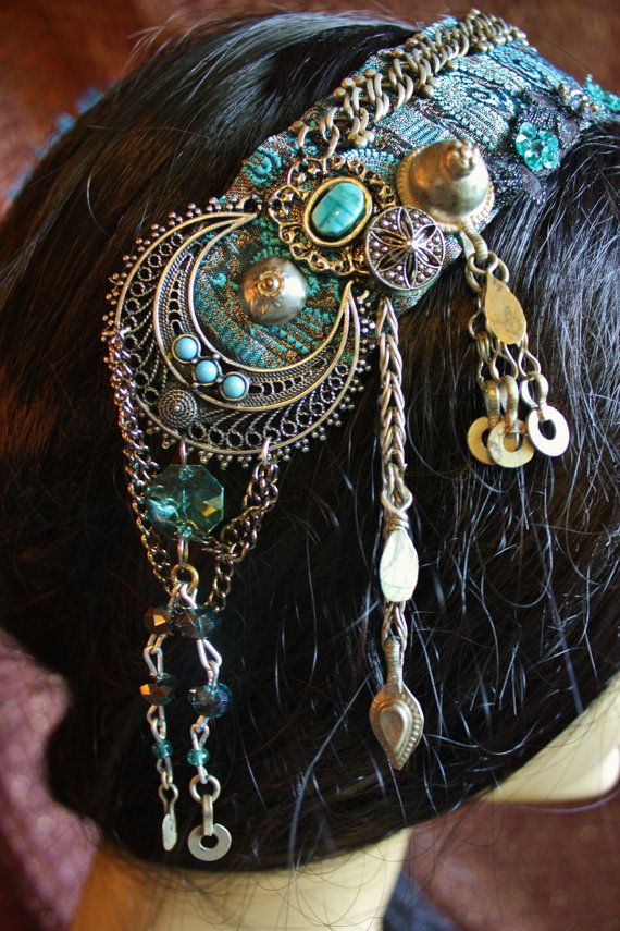 Tribal Fusion Headpiece Blue Skies Bellydance von theverdantmuse