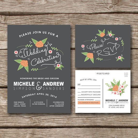 Illustrated Flowers // Wedding Invitation & RSVP Postcard