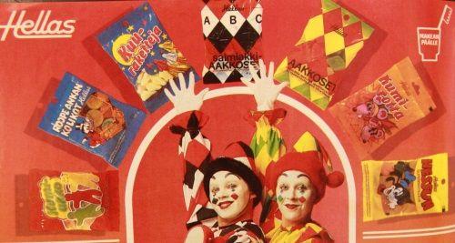 Hellaksen karkkipusseja vuodelta 1984.