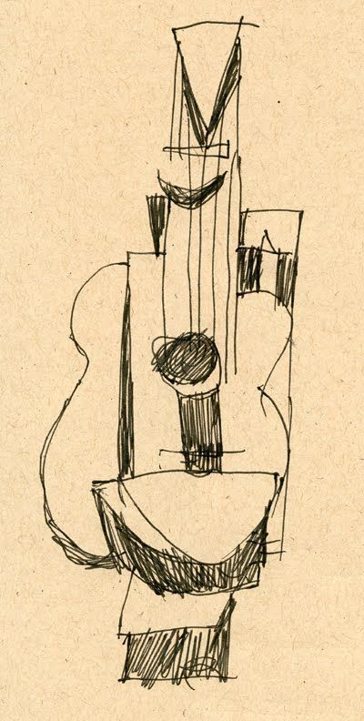 A Guitar. Drawing by Pablo Picasso.