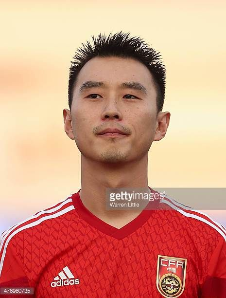 A portrait of Yang Hao of China during the Asian Cup Qualification match between China and Iraq at the AlSharjah Stadium on March 5 2014 in Sharjah...
