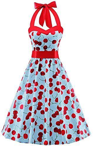 V Fashion 50s Rockabilly Halter Polka Dots Audrey Dress Retro Cocktail Dress Cherry Light Blue Medium  https://www.amazon.com/gp/product/B01IELWYZA/ref=as_li_qf_sp_asin_il_tl?ie=UTF8&tag=rockaclothsto-20&camp=1789&creative=9325&linkCode=as2&creativeASIN=B01IELWYZA&linkId=d46c98f574a04d57892cbe4b13e94c42