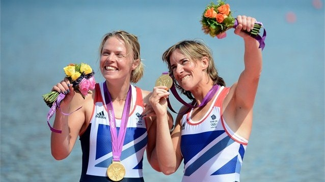 Katherine Grainger and Anna Watkins celebrate at Eton Dorney  Katherine Grainger and Anna Watkins of Great Britain celebrate with their gold medals during the Victory Ceremony for the women's Double Sculls final on Day 7 of the Games.