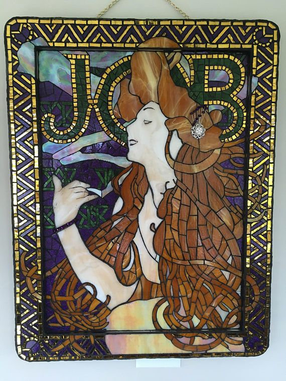 Stained Glass Mosaic panel - Alphons Mucha Job Advertisement in purple, gold, green, amber