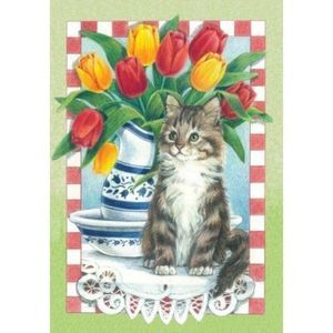 Superb Tulips With Cat Decorative Mini Garden Flag By Toland