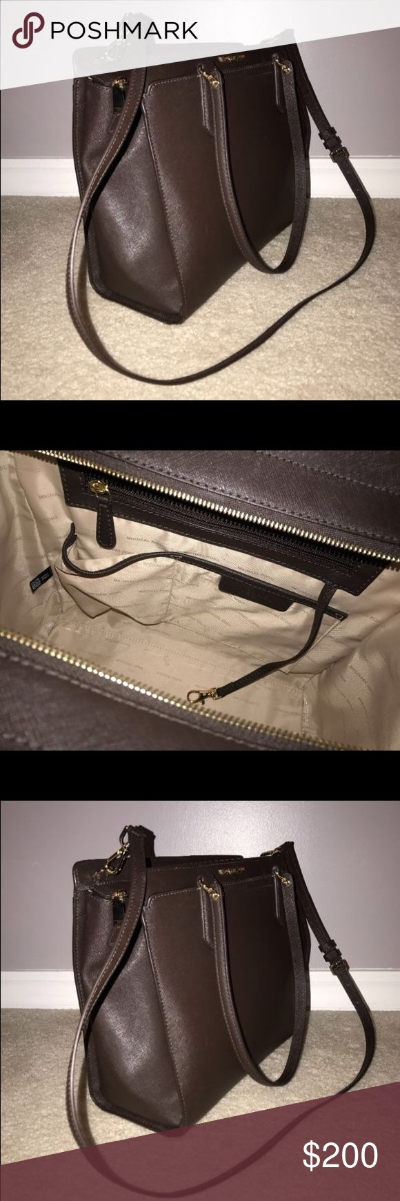 Micheal Kors handbag Large dark brown hangbag with gold detailing and a short as well as a long strap Michael Kors Bags Totes