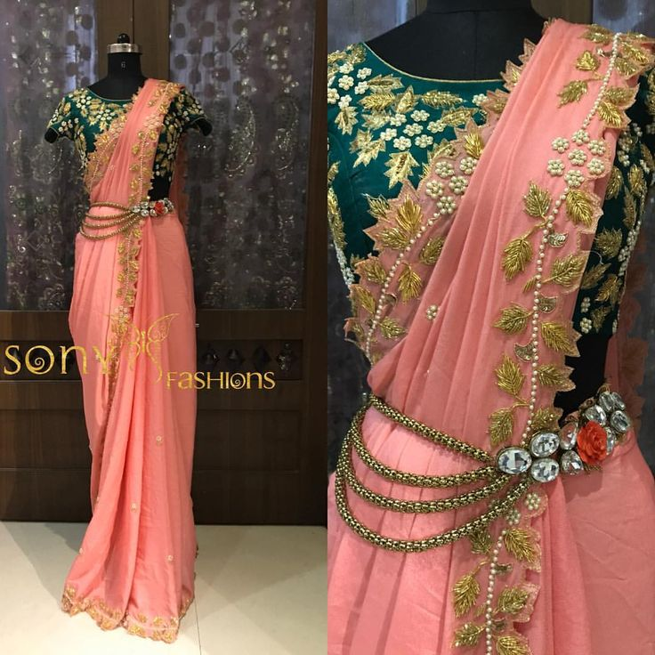 Look beautiful. Stunning pink color saree and green color designer blouse with hand embroidery work. For couture query :-Mail at:-sonyreddy24@gmail.comCall or WhatsApp:-8008100885 15 June 2017