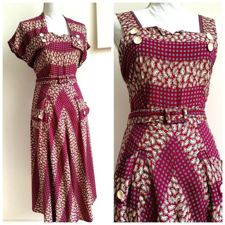 40s - Precious Rayon Halter Dress + Bolero - W27 1/2 (70cm), €150