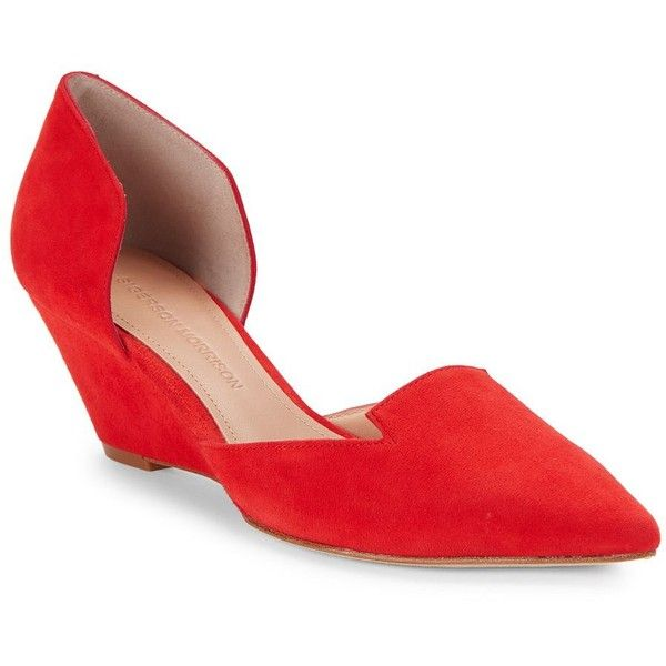 Sigerson Morrison Women's Wenda D Orsay Suede Wedges ($135) ❤ liked on Polyvore featuring shoes, red, cushioned shoes, red wedge shoes, pointed toe shoes, slip-on shoes and suede slip on shoes
