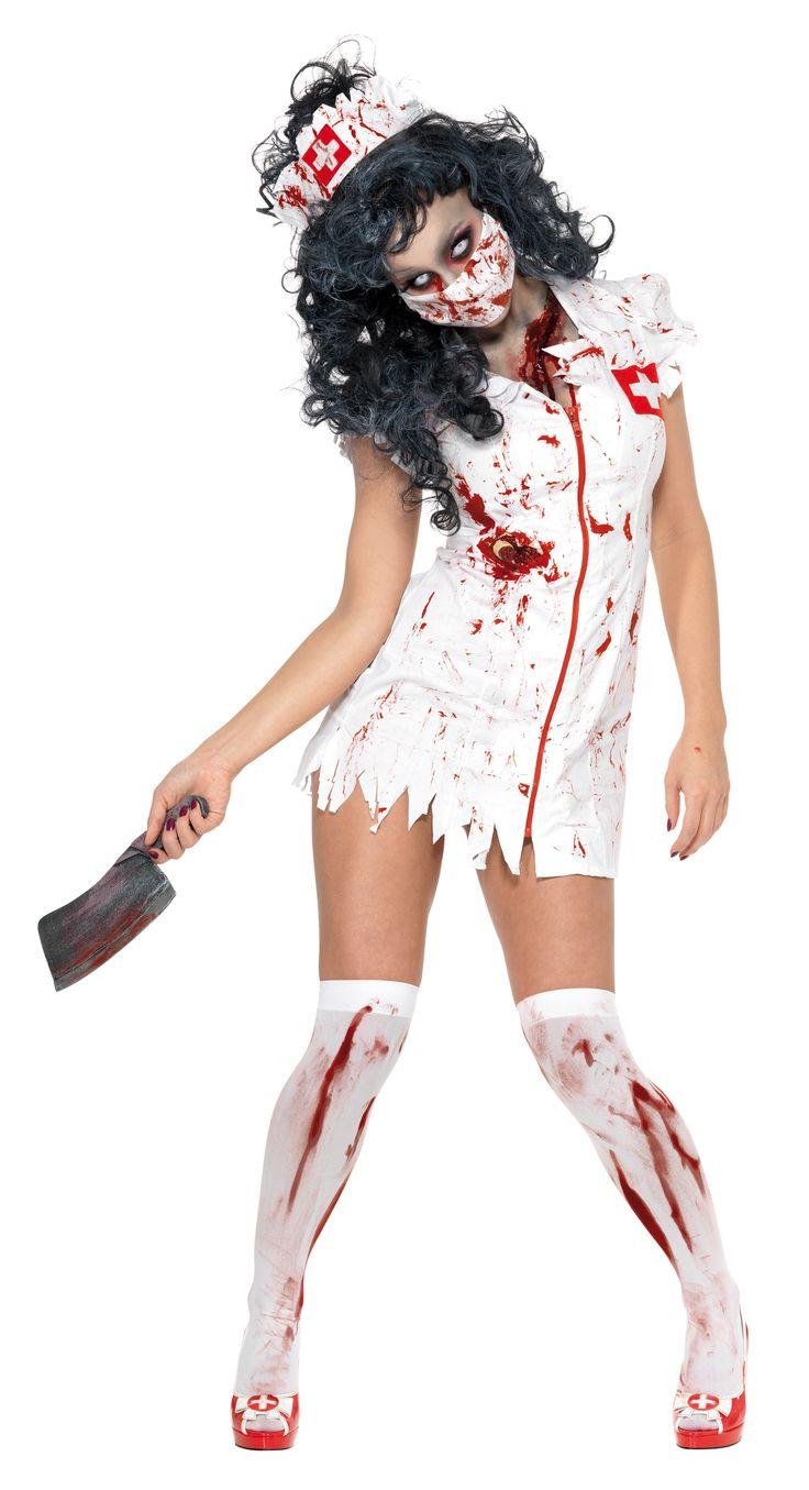 Disfraz de enfermera zombie para mujer, ideal para Halloween: Este disfraz de enfermera zombie para mujer se compone de un vestido, una mascarilla y una cofia. El vestido está manchado de sangre. Es corto y desgarrado en su contorno. Se abrocha con...