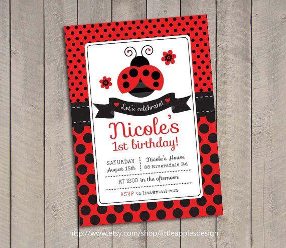 Ladybug Invitation / Ladybug Invite / by LittleApplesDesign, $12.00