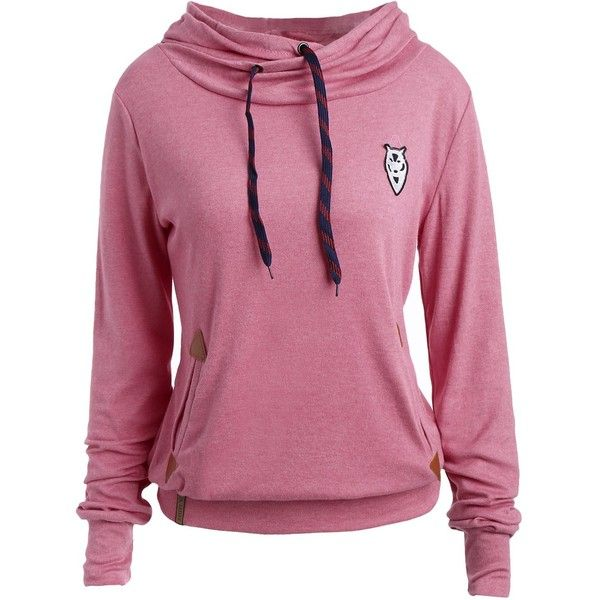 Drawstring Pocket Design Embroidered Hoodie ($8.99) ❤ liked on Polyvore featuring tops, hoodies, embroidered hoodies, purple hooded sweatshirt, embroidered hooded sweatshirts, drawstring hoodie and hoodie top
