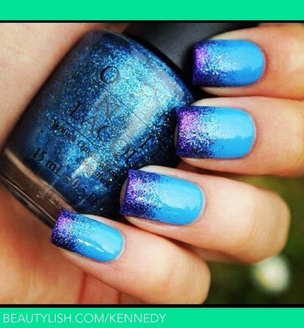 Blue nailNails Art, Nails Design, Colors, Gradient Nails, Nails Ideas, Glitter Tips, Nails Polish, Blue Glitter, Blue Nails