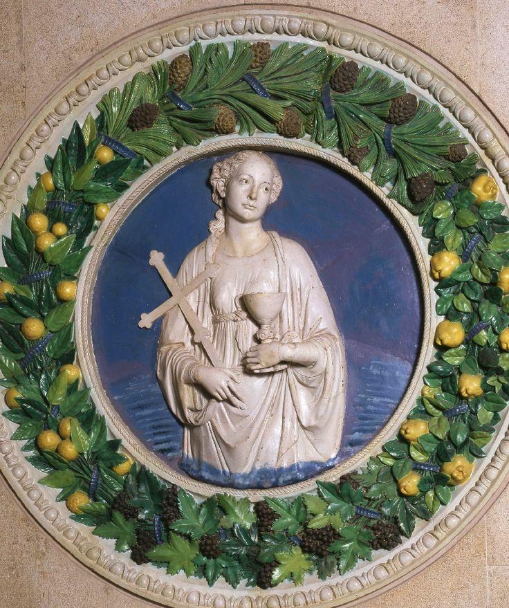 Medallion called 'Faith' by Andrea Della, Itally, late 15th century, Diam 1.8m, glazed terracotta.