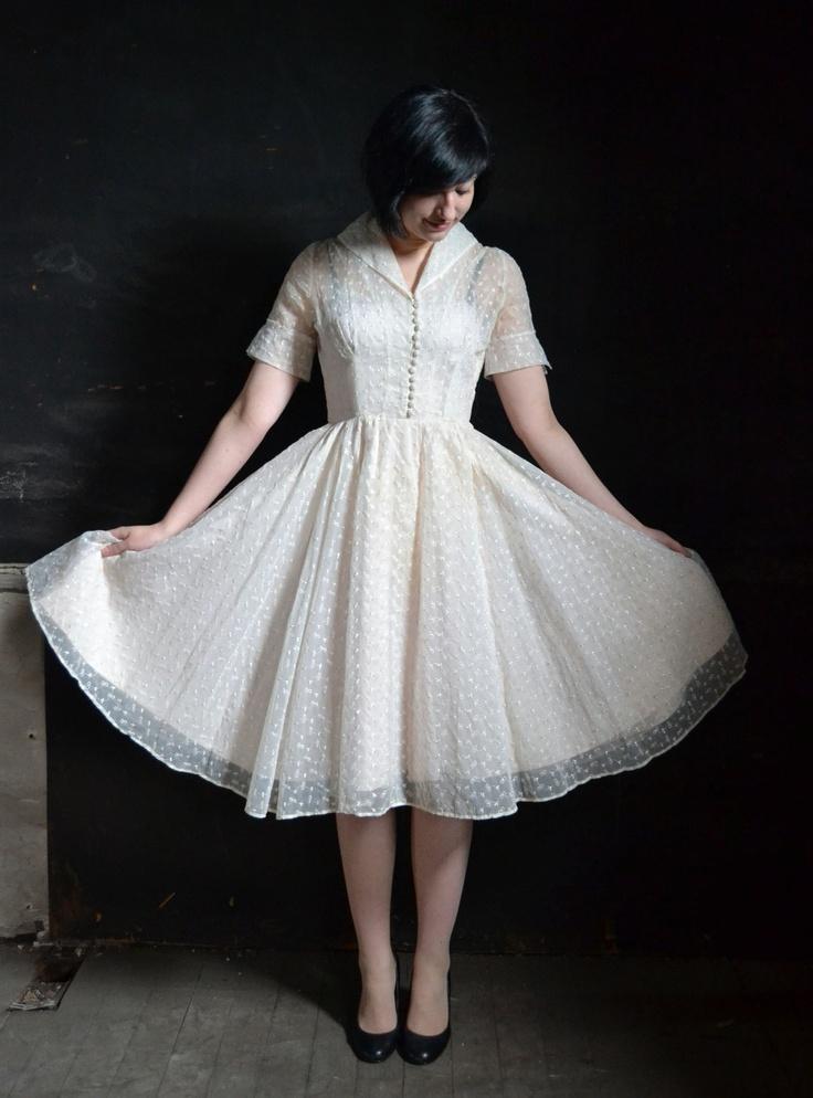 1950's White Organza Dress