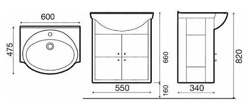 vanitory mueble clasic malher 60cm laquedado con bacha roca