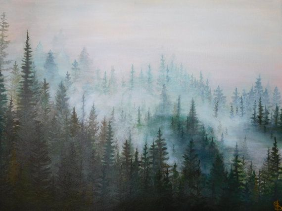 Misty Pines Painting Original Forest painting by StarlingNight