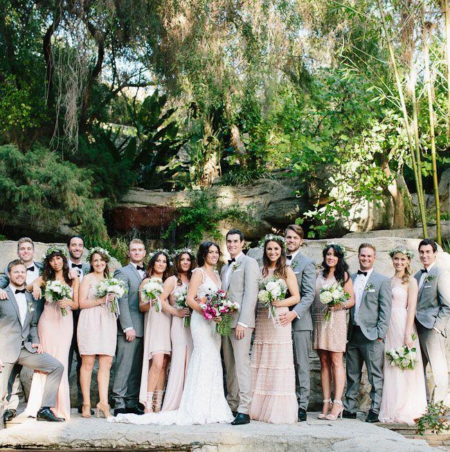 LA Garden Wedding with pastel bridesmaid dresses