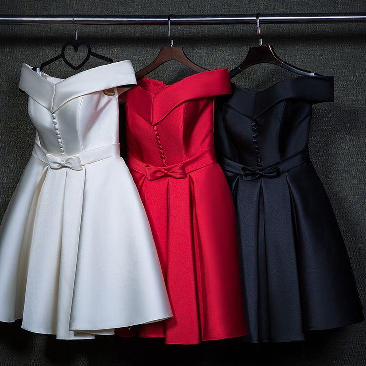 Élégant bouton court de soirée Dress2015 haute qualité hiver Satin douce genou Custom Made Plus Size robe de mariée livraison gratuite dans Robes de demoiselles d'honneur de Mariages et événements sur AliExpress.com | Alibaba Group