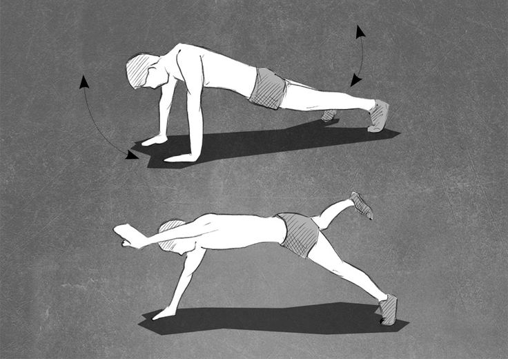 Bodyweight Exercise. Diagonale Arm and Leg Lift