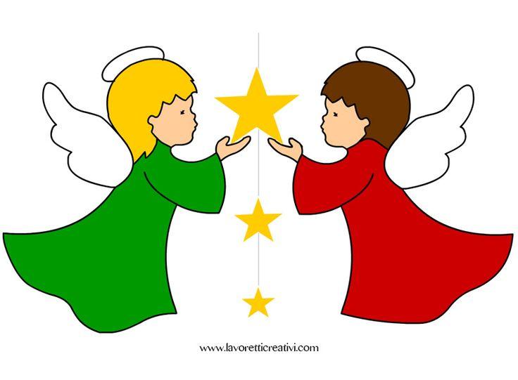 Pendente con angeli e stelle da attaccare sulle finestre o sulle pareti della classe nel periodo natalizio. DECORAZIONI NATALE Angeli con stelle Materiale: