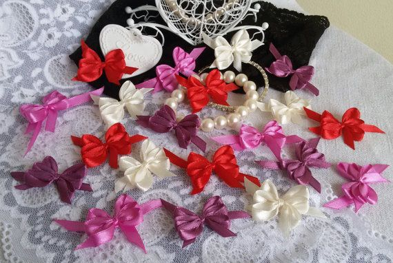 20 satin ribbon bowshandmade craft by Rocreanique on Etsy