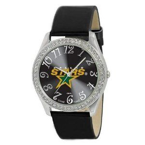 Dallas Stars Ladies Watch - Designer Diamond Watch by Game Time. $39.95. Stainless Steel And Leather. Officially Licensed Dallas Stars Ladies Designer Diamond Watch. Women. 50 Crystal Stones-Water Resistant Up To 3 ATM. Approximately 1 Inch Face. Dallas Stars women's watch. This Stars designer diamond watch features a metal case with 50 crystal stones. The watch is made of a patent leather strap, brass dial, stainless steel buckle, case back and crown. Japan quartz mov...