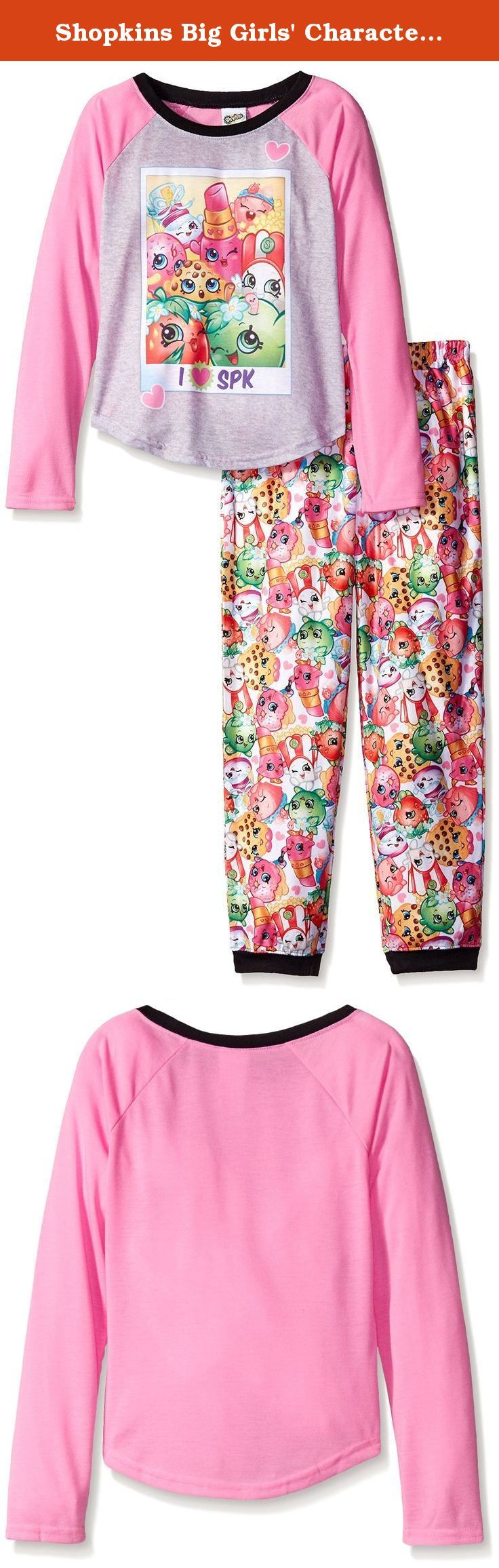 Shopkins Big Girls' Character 2-Piece Pajama Set, Pink, 10. What is there not to love about these collectible cuties your daughter is sure to go SPK-Razy over this sleepwear set with its realistic graphics, cool raglan sleeves, and jogger pant perfect for sleeping, lounging, and trading Shopkins with friends.