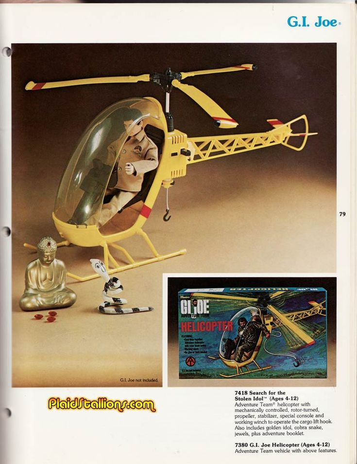 """Search for the Stolen Idol"" Helicopter Set from the G.I. Joe Adventure Team Catalog by Hasbro, 1975"
