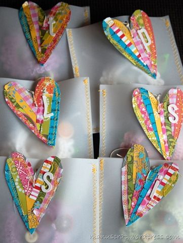 Great use of those little tid bits I just can't throw away--these would make cute bookmarks!