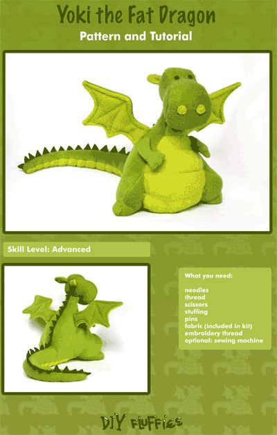 Yoki the Fat Dragon sewing pattern. @Amber rivers you should make this guy for me.