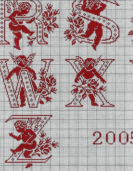 ange - angel - alphabet - point de croix - cross stitch - Blog : http://broderiemimie44.canalblog.com/