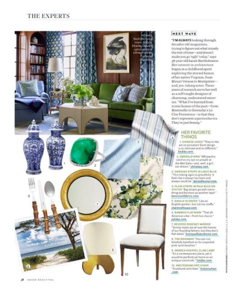 Wood paneled library den room with blue and green by Sarah Bartholomew. Sources on this link.