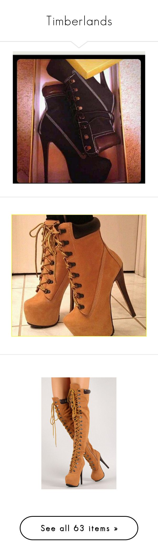 """""""Timberlands"""" by adorablequeen ❤ liked on Polyvore featuring shoes, sneakers, timberland shoes, timberland trainers, timberland sneakers, timberland footwear, high heeled footwear, high heel boots, high heel shoes and boots"""
