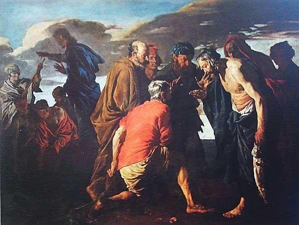 MIRACOLO DELLA MONETA Stom (Stomer) Matthias olio su tela 1640 ca.PalermoCasa Villafranca (Palazzo Alliata di Villafranca)