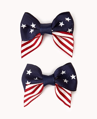 Anerican Flag Bow Hair Clip Set | FOREVER21 - 1061653410