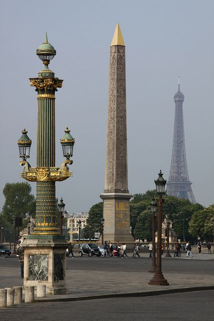 The Luxor Obelisk, located in the Place de la Concorde in the 8th arrondissement of Paris was a gift from the Egyptian government to France in 1829.  Originally marking the entrance to the Luxor Temple in Egypt, it stands 75 feet tall and is covered in hieroglyphics depicting the reign of Pharaoh Ramses II.