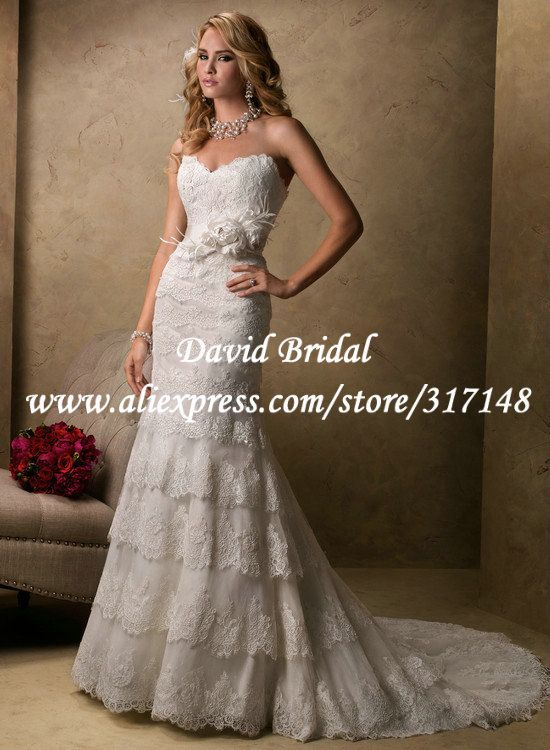 Layered Skirt Flowers Sash Sweetheart Spanish Lace Mermaid Style Wedding Dress EF1550 $229.36