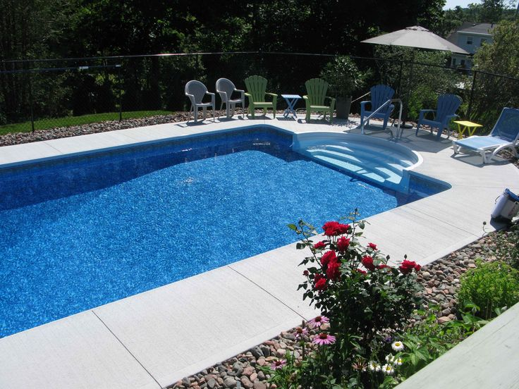 56 best pool landscaping ideas images on pinterest decks for Basic in ground pool designs