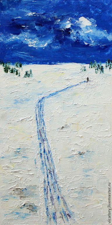 """""""В лес за елкой"""", картина масло - темно-синий,белый,зеленый,картина,картина масло"""