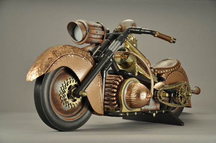 Steampunk Indian Motocycle by John Belli, part of 50 Firsts: Springfield Inventions Reinvented. | Steampunk Springfield: Re-Imagining an Industrial City: Indian Motocycle, Indian Motorcycles, Steampunk Indian, Steampunk Springfield, Art History, Springfield History