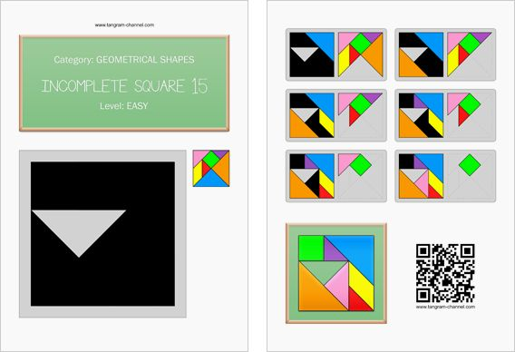 Tangram worksheet 262 : Incomplete square 15 - This worksheet is available for free download at http://www.tangram-channel.com