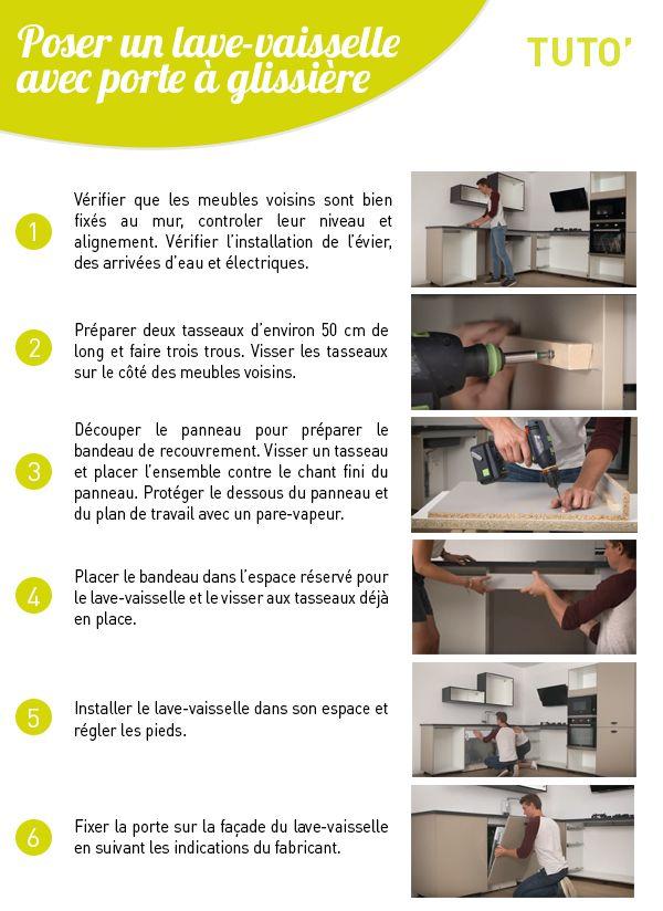Decouvrez Toutes Les Etapes Pour Installer Un Lave Vaisselle Avec Porte A Glissieres Dans Votre Cuisine Regardez Notre Tuto T En 2020 Lave Vaisselle Vaisselle Lave