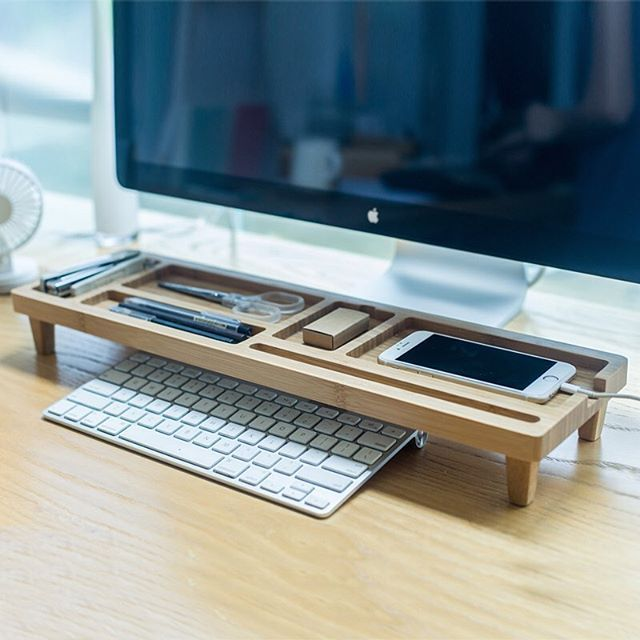 The 25 best desk accessories ideas on pinterest office desk wooden keyboard rack desktop accessories storage desk organizer holder shelf by gardenxhk on etsy gumiabroncs Image collections