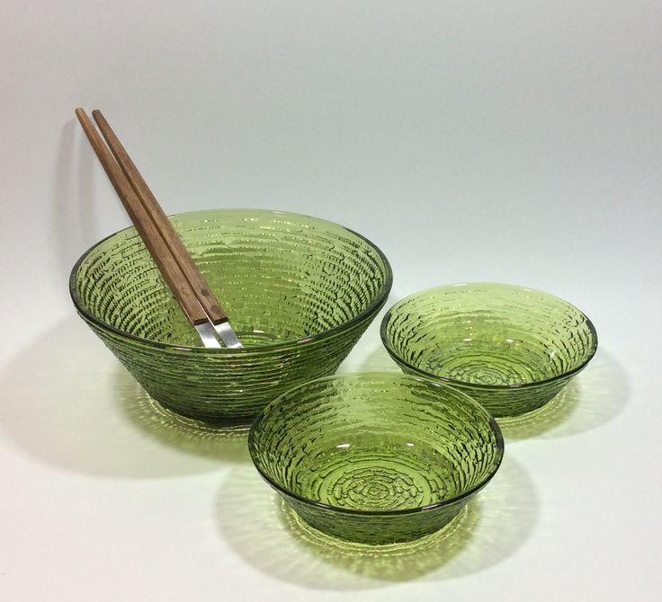 Mid Century Modern Anchor Hocking Soreno Textured Green Glass Serving Bowls Barlow Teak & Stainless Serving Utensils Set by EastWestVintage1 on Etsy